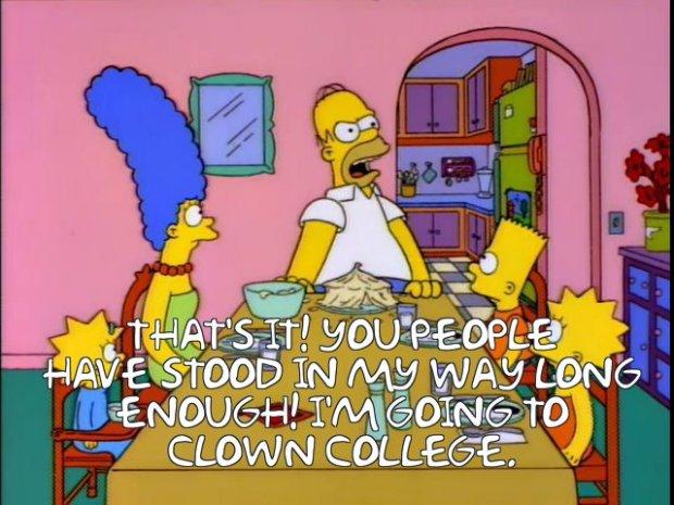 Homer Simpson Clown College