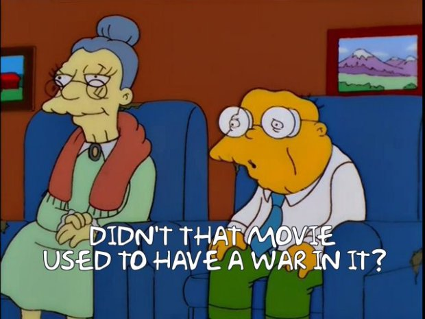 Hans Moleman Watching Gone With the Wind
