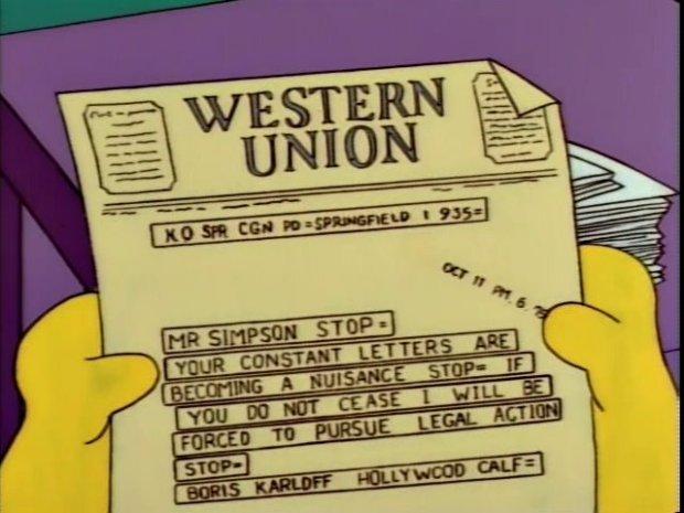 The Simpsons Telegraph from Boris Karloff