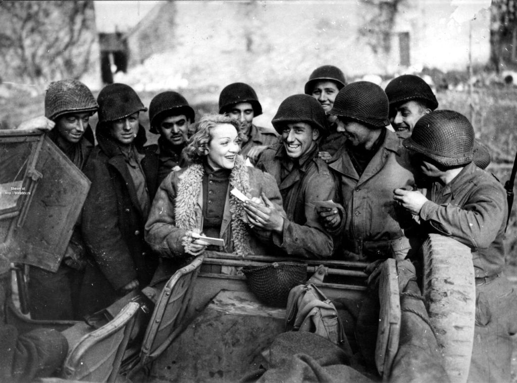 Marlene Dietrich with Allied Troops in WWII