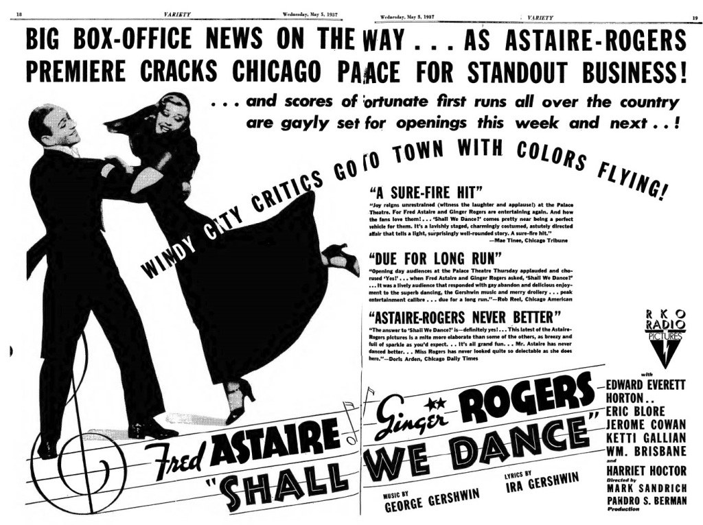 Shall We Dance ad from May 5, 1937 Variety issue.