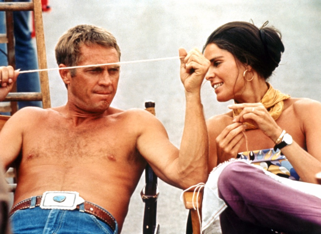 Ali MacGraw and Steve McQueen on the set of The Getaway.