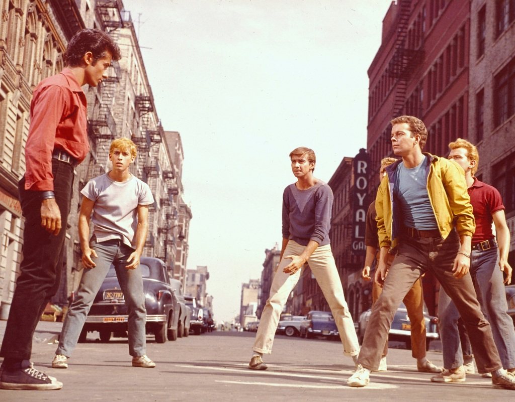 Scene from West Side Story showing the Sharks and the Jets.