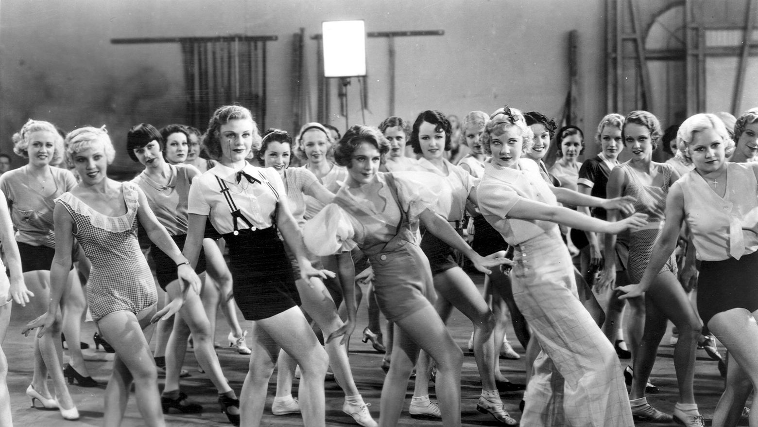 Ginger Rogers, Ruby Keeler, and Una Merkel in a scene from 42nd Street (1933).
